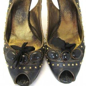 Miu Miu Distressed Leather Stiletto Sling Backs 8